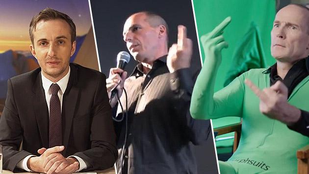 ZDF-Moderator Jan Böhmermann (links) gelang ein Satire-Coup um den Varoufakis-Stinkefinger. (Bild: YouTube.com)