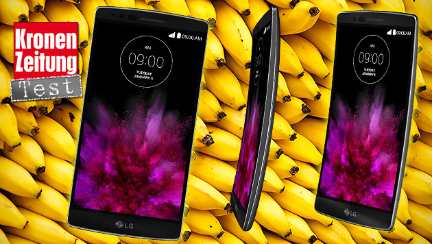 Android-Banane: Das LG G Flex 2 im Praxistest (Bild: LG, thinkstockphotos.de, krone.at-Grafik)