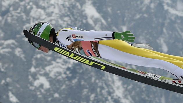 Stefan Kraft beim Skifliegen in Planica Dritter