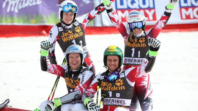 Teambewerb in Meribel: ÖSV-Team belegt Platz drei (Bild: GEPA)