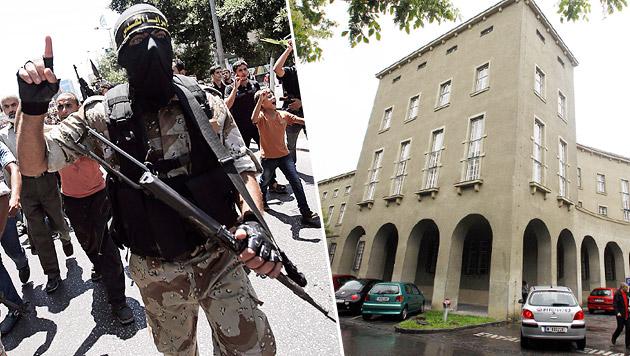 Das Landesgericht Krems (rechts) ermittelt gegen die 19-jährige Konvertitin aus Niederösterreich. (Bild: APA/EPA/MOHAMMED SABER, APA/HERBERT PFARRHOFER)