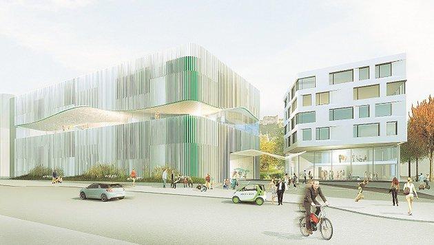 So sieht das Siegerprojekt fürs neue Paracelsusbad aus. (Bild: Berger   Parkkinen)