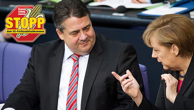 SPD-Chef Gabriel droht jetzt mit TTIP-Blockade (Bild: APA/EPA/DANIEL NAUPOLD, Krone)