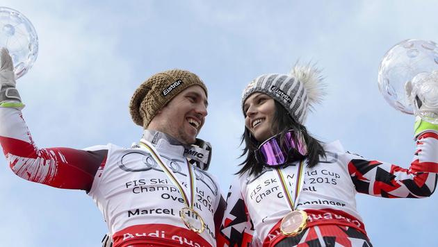 Österreichs Ski-Helden: Marcel Hirscher und Anna Fenninger (Bild: APA/EPA/JEAN-CHRISTOPHE BOTT)