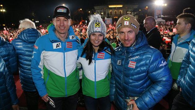 Hannes Reichelt, Anna Fenninger, Marcel Hirscher (Bild: Kristian Bissuti)