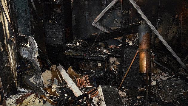 Der Raum wurde vom Feuer komplett zerstört. (Bild: MA 68 Lichtbildstelle)