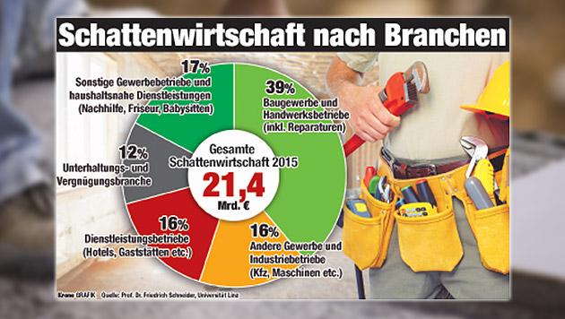 So schlüsselt sich der Pfusch nach Branchen auf - klare Nummer eins ist die Bauwirtschaft. (Bild: Krone-Grafik, thinkstockphotos.de)