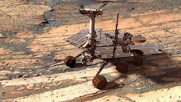 """Der Rover """"Opportunity"""" auf dem Mars (Bild: NASA)"""