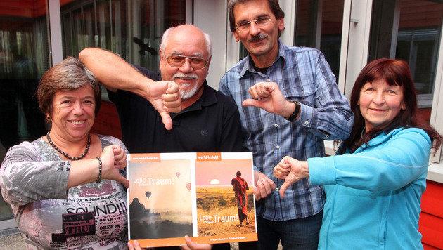 Irene, Anton, Fritz und Helena (v.l.n.r.) sind vom Reiseveranstalter bitter enttäuscht. (Bild: ANDI SCHIEL)