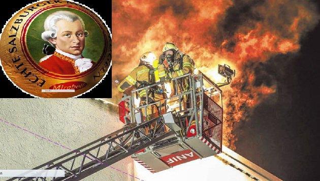 Mit der Drehleiter gelangten zwei Helfer bis zum Dach, bekämpften die Flammen im Dachgeschoß. (Bild: Markus Tschepp)