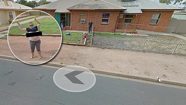 Angezeigt: Frau zog auf Google Street View blank (Bild: Google)