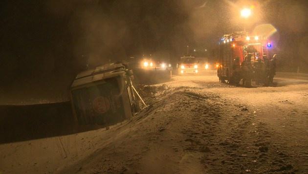 Zum Zeitpunkt des Unfalls herrschte dichter Schneefall. (Bild: BFV LIEZEN/Schlüßlmayr)