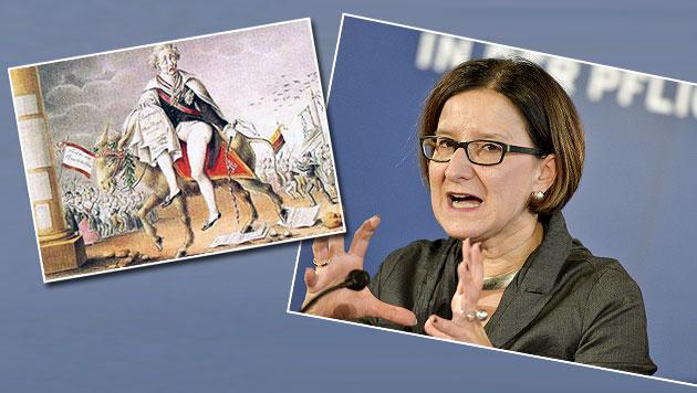 """Innenministerin Mikl-Leitner wandelt mit ihrem """"Spitzelgesetz"""" auf Metternichs Spuren. (Bild: Wikimedia Commons, APA/HERBERT NEUBAUER)"""