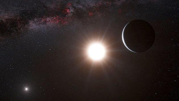 Künstlerische Illustration eines Planeten im sonnennahen System Alpha Centauri (Bild: ESO/L. Calcada/Nick Risinger (skysurvey.org))