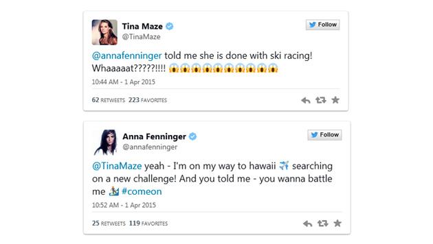 Amüsantes Twitter-Duell der Ski-Beautys Fenninger und Maze (Bild: twitter)