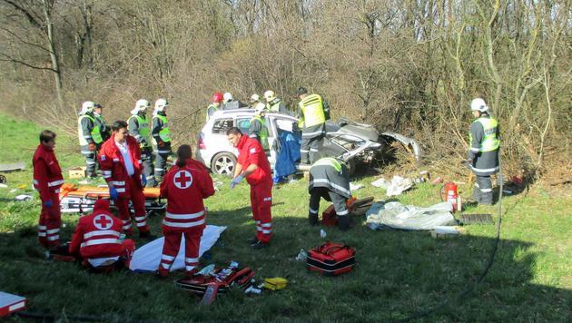 71-jähriger Wiener kommt bei Autounfall ums Leben (Bild: APA/FF HORNSTEIN/UNBEKANNT)