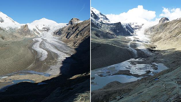 Die Pasterze am Fuß des Großglockners im September 2010 (links) und im September 2014 (rechts) (Bild: APA/ÖAV/G. LIEB)