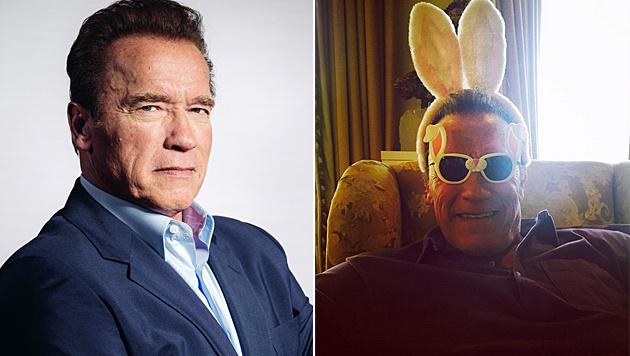 Arnie zeigte zu Ostern Humor und postete ein Foto mit Häschenohren. (Bild: Casey Curry/Invision/AP, instagram.com/schwarzenegger)