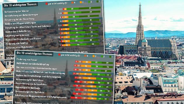 Diese Themen finden die Wiener wirklich wichtig (Bild: thinkstockphotos.de, krone.at-Grafik)