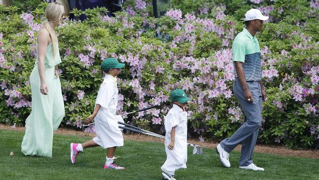 Tiger Woods mit Kids und Lindsey Vonn (Bild: APA/EPA/ERIK S. LESSER)