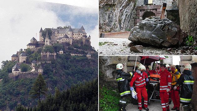 Bei dem Felssturz waren fünf Menschen, darunter ein neunjähriger Bub, teils schwer verletzt worden. (Bild: APA/GERT EGGENBERGER, APA/ÖAMTC)