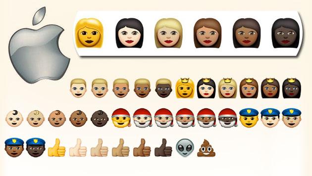 Das neue iOS 8.3: Smileys in allen Hautfarben (Bild: theverge.com, www.spiegel.de)