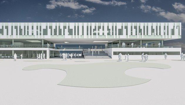 Auf dem Campus in Floridsdorf entsteht das neue Gebäude der Veterinärmedizinischen Universität Wien. (Bild: Mitiska Wäger Architekten)