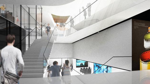 Innenansicht der neuen Universität für Musik und darstellende Kunst Wien. (Bild: Pichler Traupmann Architekten ZT GmbH)