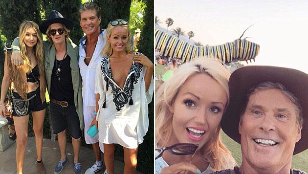 David Hasselhoff macht mit seiner Freundin derzeit das Coachella-Festival unsicher. (Bild: Viennareport)