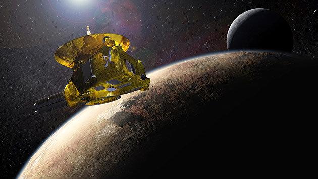 """""""New Horizons"""" vor Pluto und seinem größten Mond Charon (Bild: NASA/Applied Physics Laboratory/Southwest Research Institute)"""