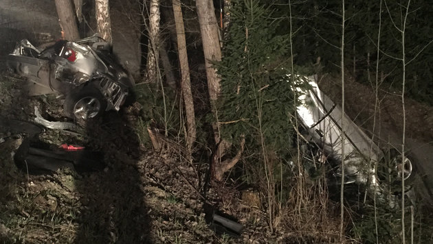 Der Wagen wurde bei der Kollision mit den Bäumen in zwei Teile gerissen. (Bild: APA/WWW.FF-ROTTENMANN.AT)