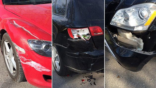 Das Fiakergespann beschädigte insgesamt sieben Autos. Menschen wurden nicht verletzt. (Bild: Polizei)