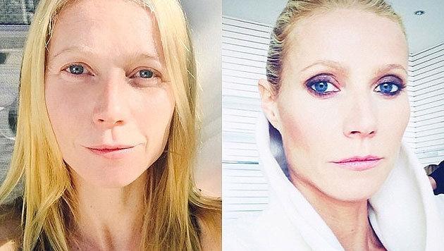 Gwyneth Paltrow zeigt sich ungeschminkt und zum Vergleich geschminkt. (Bild: Viennareport)