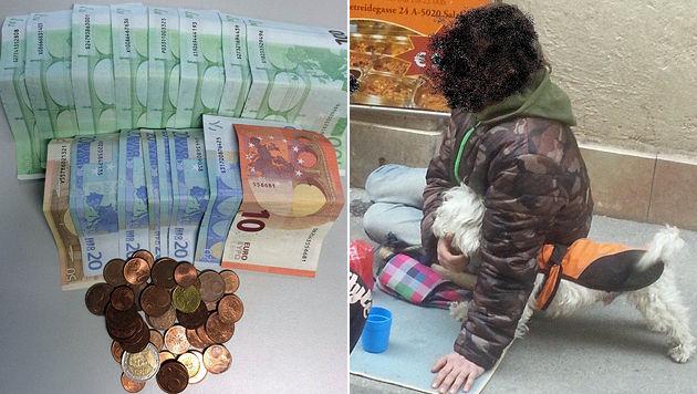 Das beschlagnahmte Geld und eines der Opfer (Bild: LPD Salzburg)