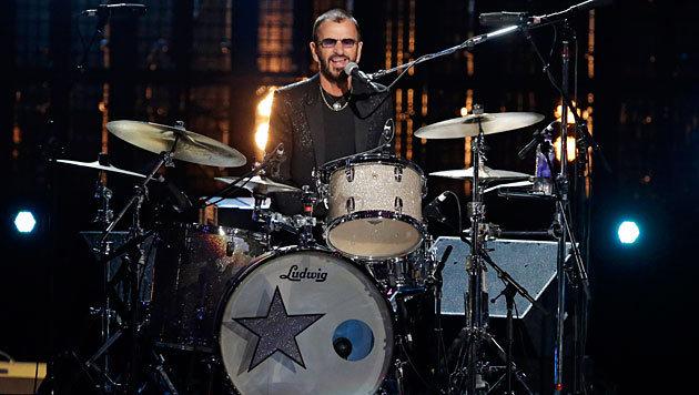 Ringo Starr bei seinem Auftritt während der Ehrung (Bild: AP)