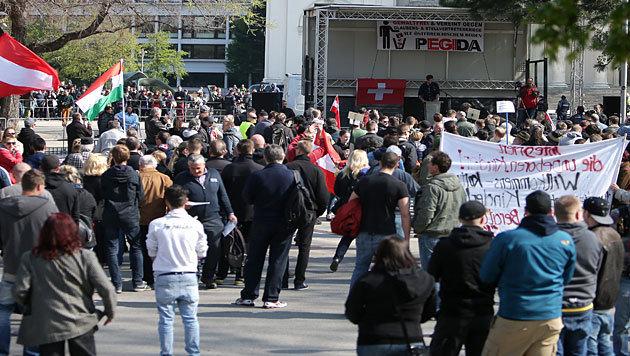 Zweite Pegida-Kundgebung in Wien ein laues Lüfterl (Bild: APA/Georg Hochmuth)