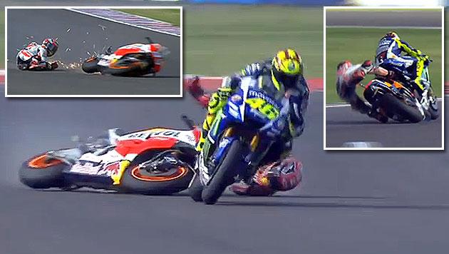 Moto-GP brutal: Marquez kracht Sieger Rossi rein! (Bild: YouTube.com)
