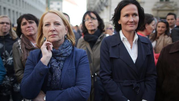 Nationalratspräsidentin Doris Bures und Grünen-Bundesparteiobfrau Eva Glawischnig (Bild: APA/GEORG HOCHMUTH)