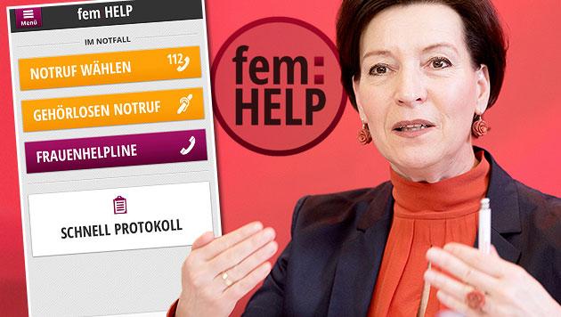"""Umstrittene Frauen-""""Help-App"""" kostete 72.798 Euro (Bild: APA/GEORG HOCHMUTH, itunes.apple.com, krone.at-Grafik)"""