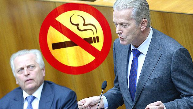 Hitzige Debatte um Rauchverbot im Parlament (Bild: APA/ROBERT JAEGER, thinkstockphotos.de, krone.at-Grafik)