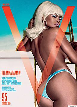 """Oben ohne und mit platinblonden Haaren präsentiert sich Rihanna am Cover des """"V""""-Magazins. (Bild: instagram.com/vmagazine)"""