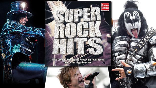 """Die neue """"Krone Super Rock Hits""""-Doppel-CD ist da! (Bild: Sony Music, AFP, Lindnermusic, APA/EPA/MARIUS BECKER)"""