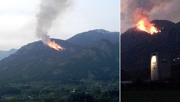 75 Hektar Hochwald standen auf der Göriacher Alm in Lurnfeld in Flammen. (Bild: APA/BFKDO SPITTAL/DRAU/UNBEKANNT, APA/PHILIP STOTTER)