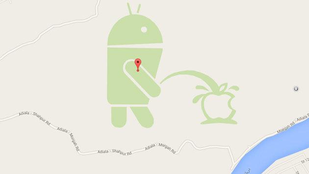 Google Maps: In Pakistan pinkelt Android auf Apple (Bild: Google Maps)