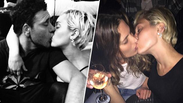 Miley Cyrus knutscht den Liebeskummer weg (Bild: instagram.com/mertalas)