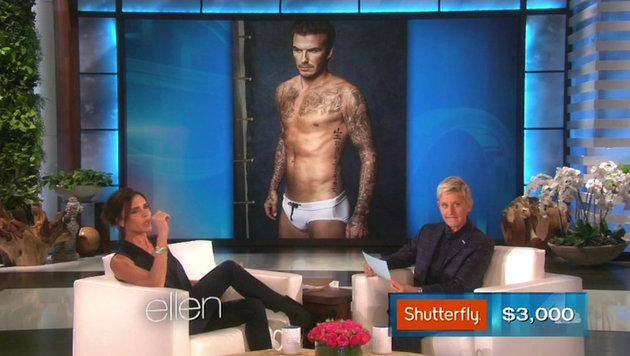 Victoria Beckham plaudert in der Talkshow von Ellen DeGeneres über den Körper ihres Mannes. (Bild: Viennareport)