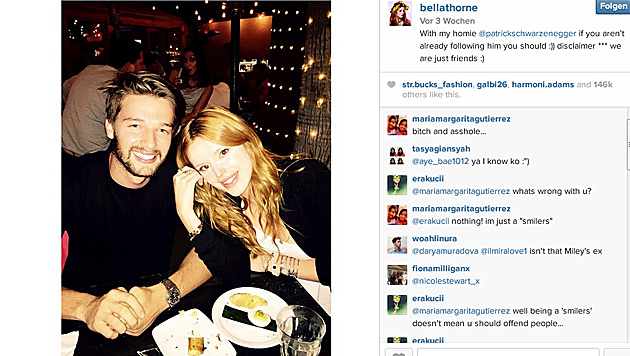 Nach diesem Foto von Patrick und Bella Thorne machte Miley Schluss. (Bild: instagram.com/bellathorne)