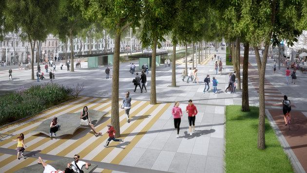 So könnte die Wiener Ringstraße 2025 aussehen. (Bild: APA/GEHL ARCHITECTS)