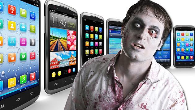 10 Tipps, damit Sie kein Smartphone-Zombie werden (Bild: thinkstockphotos.de, krone.at-Grafik)