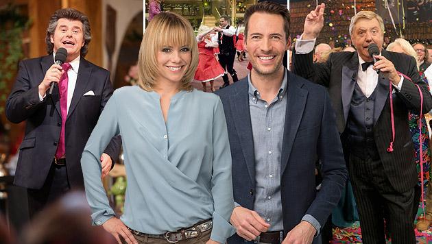 Francine Jordi und Alexander Mazza übernehmen die von Karl Moik und Andy Borg (l.) geprägte Show. (Bild: ORF/Thomas Ramstorfer, APA, picturedesk.com)